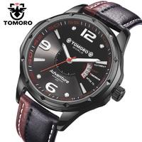 TOMORO Men S Top Brand Luxury Casual Fashion Men Leather Japan Date Clock Quartz Unique Black