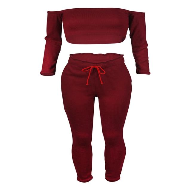 7e4c76b44e7 2017 Sexy Jumpsuit Women Autumn Fitness Off Shoulder Ruffles Female  Jumpsuit Rompers Cotton Trousers Shirt Combination