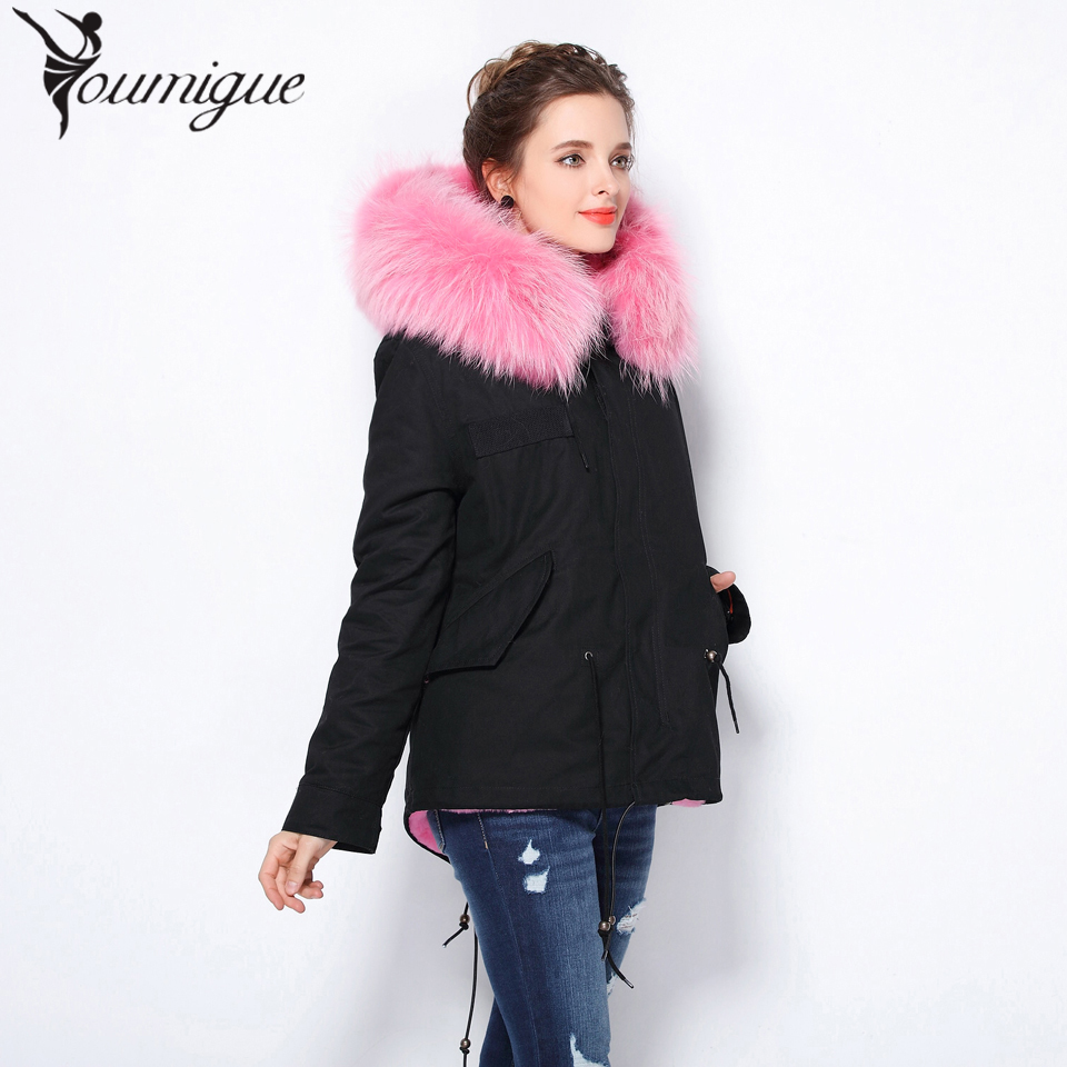 YOUMIGUE 2017 winter jacket women black real raccoon fur collar detachable warm coat faux fur liner parkas tops short type warm 2017 autumn winter jacket coat women holes denim long jacket real large raccoon fur collar and faux fur thick warm liner