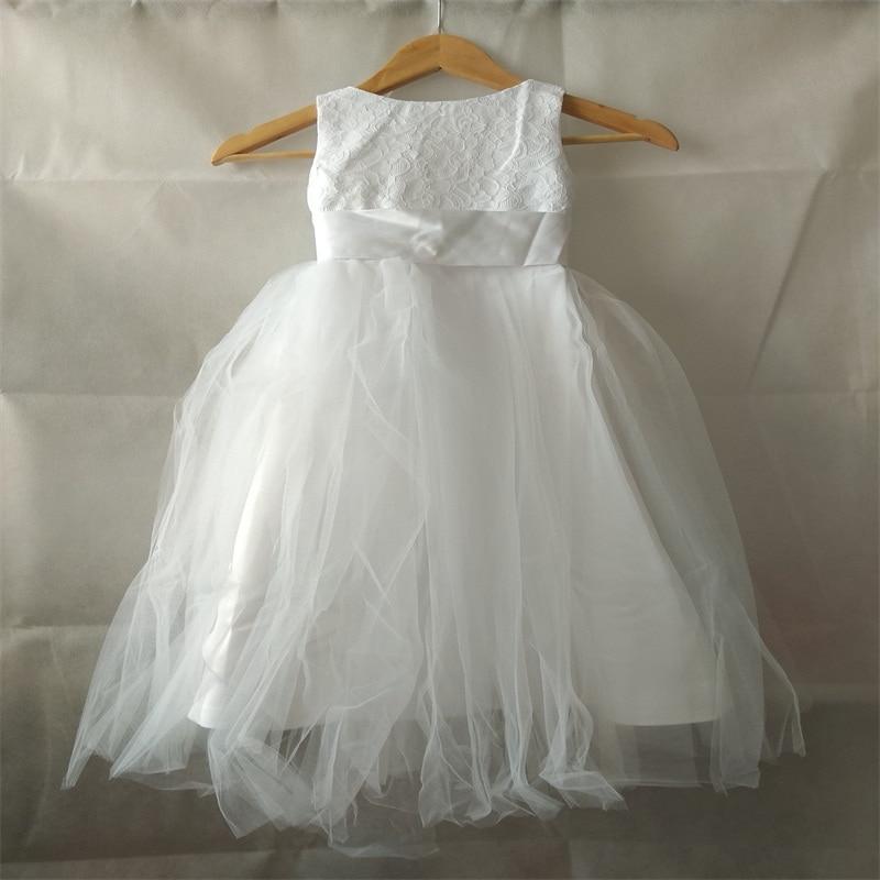 New Princess Flower Girl Dresses for Wedding Little Girls Kids/Children Dress V-Back Tulle Ball Party Pageant Communion Dress