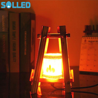 SOLLED Vintage Pastoral Style Table Lamp With Wooden Lampshade Decorative Bedside Light Valentine S Day Home