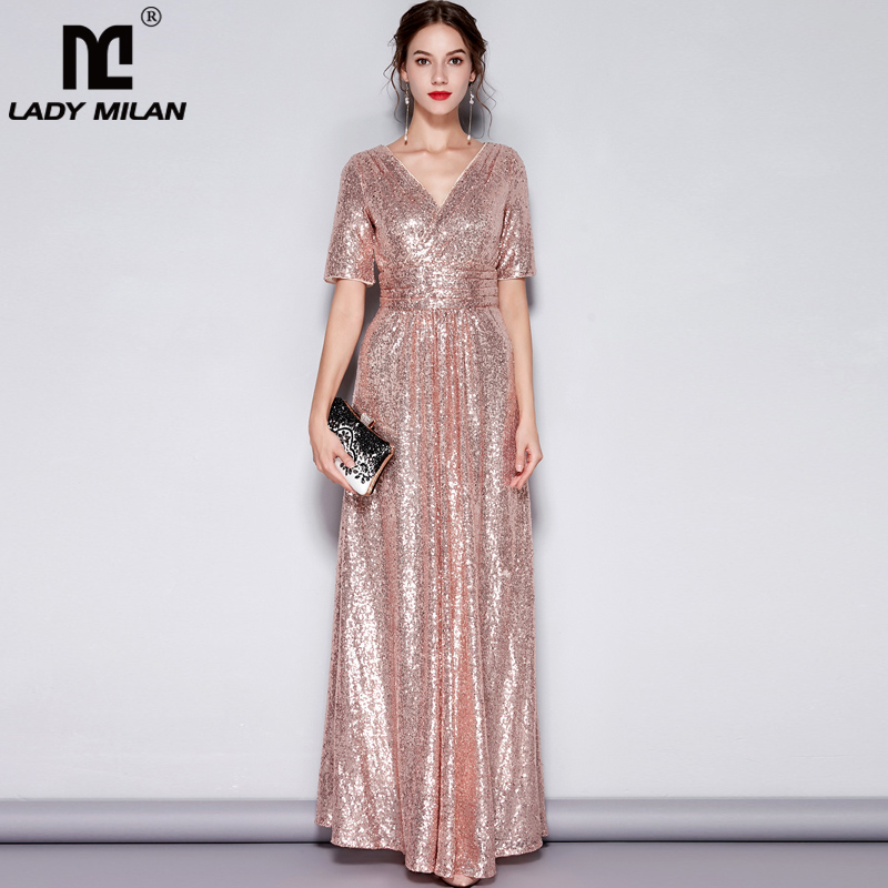 Lady Milan Womens Sexy V Neck Short Sleeves Sequined Ruched Fashion Long Party Prom Runway Dresses