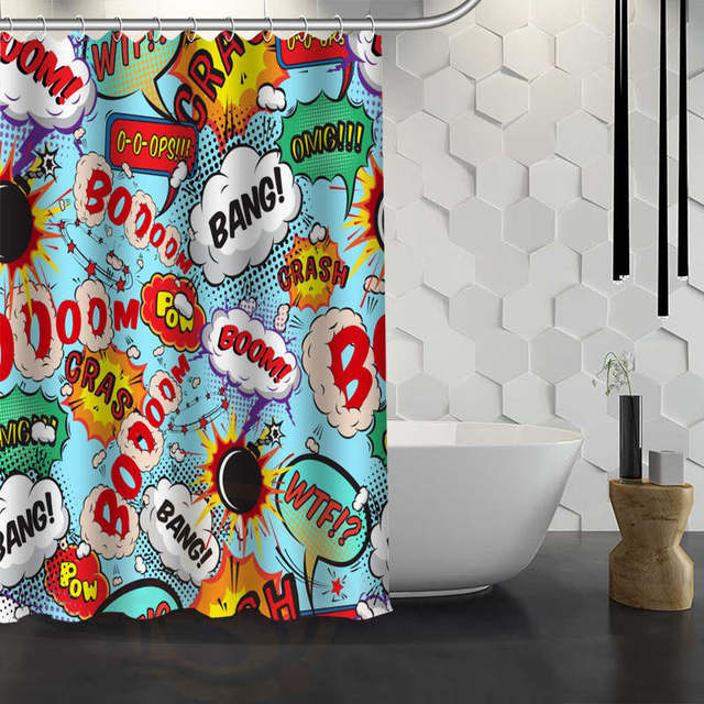 Hot Sale Custom Comic Pop Art Shower Curtain Waterproof Fabric For Bathroom F