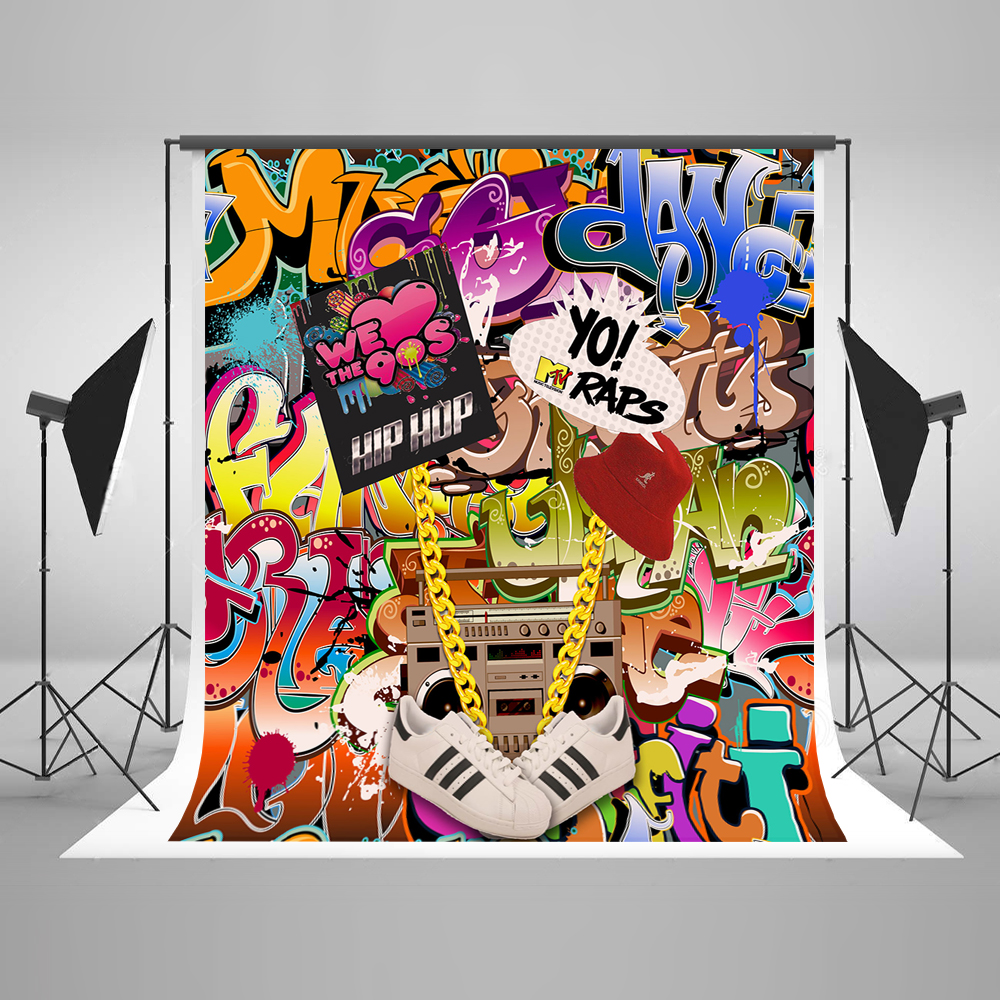 Kate graffiti dinding latar belakang fotografi 300 cm kembali untuk 90s fashion art studio latar belakang latar belakang backdrop pesta liburan di