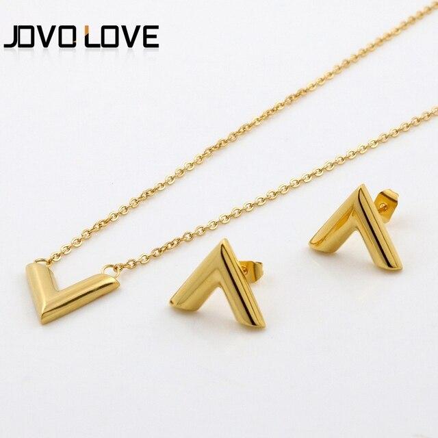 יוקרה מותג תכשיטי סטי מכתב V קסם שרשרת שרשרת זהב עגילי סט לנשים גבירותיי מסיבת חתונת תכשיטים