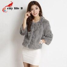 2016 New Real Rabbit Fur Coat Women Short O-Neck Slim Female Casaco Feminino Candy Color Fur Jacket
