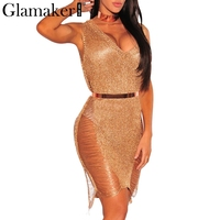 Glamaker Sexy Sides Split Summer Dress Women Banadge Package Deep V Neck Evening Golden Dress Night