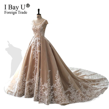 Luxo Manga Longa Árabe Vestido De Casamento Ballgown