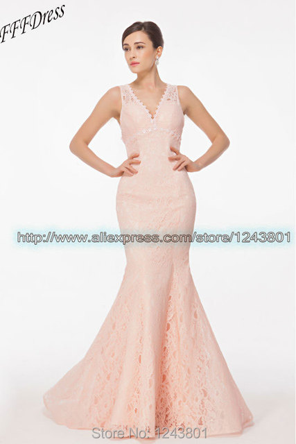 Peach Pink Mermaid Lace Prom Dresses Open Back Long V Neck Evening ...