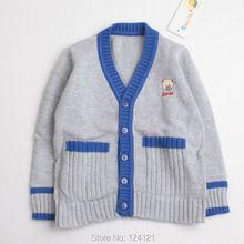 100% хлопок мальчиков v-образным вырезом вязаный свитер кардиган мальчики зима детской одежды для малышей мальчики верхней одежды