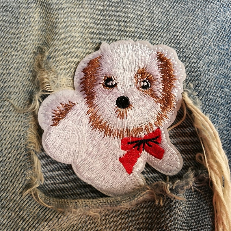 1 PIC 6.7*6.4CM Computer Embroidery Chapter DOG Embroidered Cloth Emblem Badge Clothes Decoration Patch Adhesive Tape Ironing