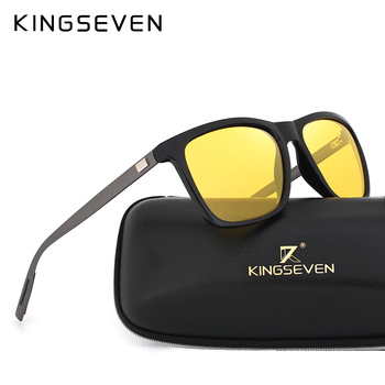 KINGSEVEN New Night Vision Sunglasses Men Brand Designer Fashion Polarized Night Driving Enhanced Light At Rainy Cloudy Fog Day