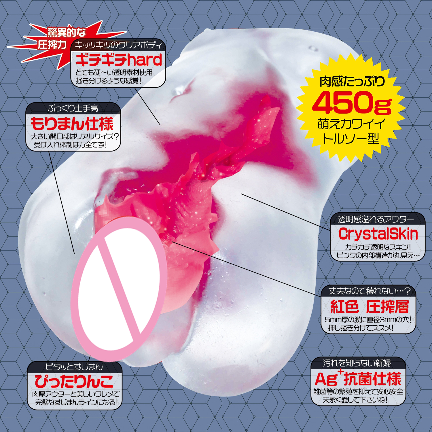 Magic Eyes Japan Transparent Artificial Vagina Real Pussy Sex Toys for Men Masturbatings Crystal Pocket Pussy Adult Sex Products in Masturbators from Beauty Health