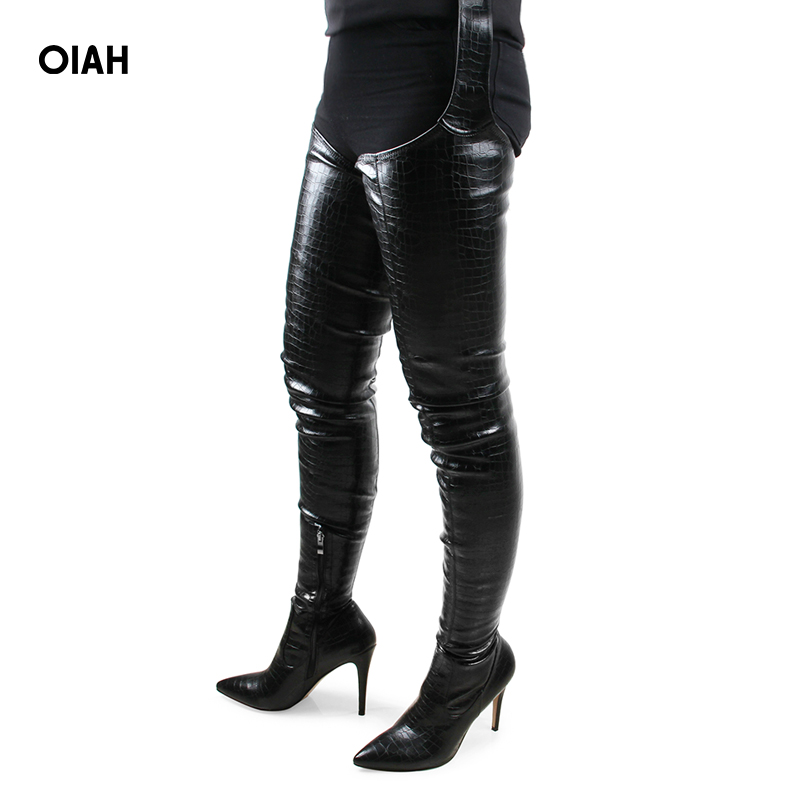 Fashion PU Rihanna Style Over the Knee Boots for Women Shoes Pointed Toe Pleated Solid High Heels Long Thigh High Boots stylish solid color lightweight pleated scarf for women
