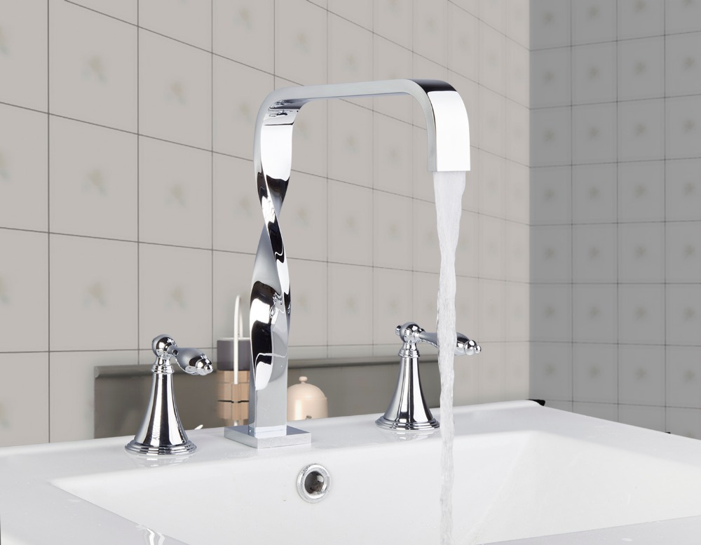 55H Unique Design Double Handles Chrome Deck Mounted Bathroom Wash Basin Sink Bathtub Mixer Tap Faucet раковина duravit cape cod 2340460000