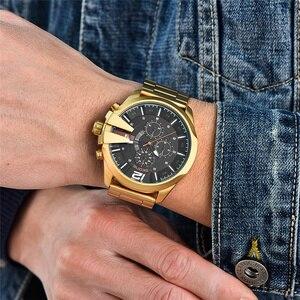 Image 3 - Skone relojes de lujo para hombre, de cuarzo, de negocios marca, resistente al agua, con cronógrafo, dorado