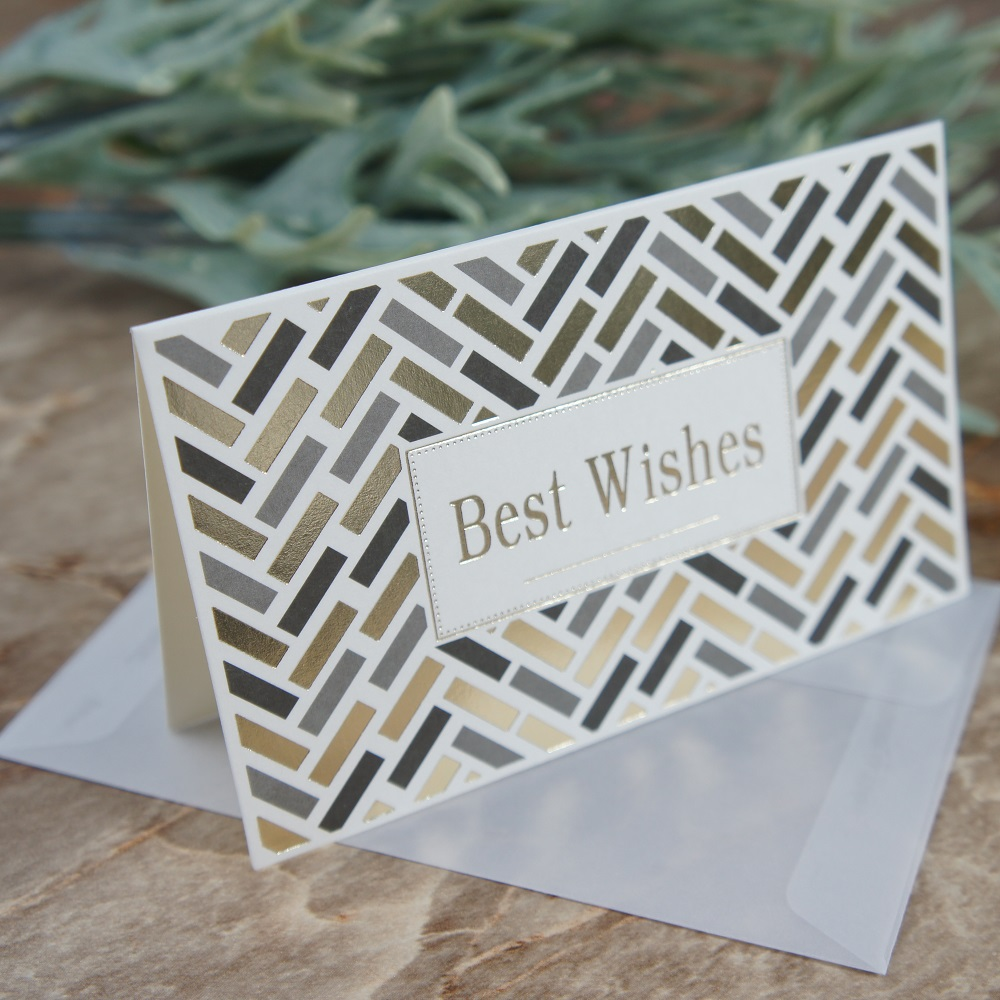 multi use 25pcs gold Rectangle best wishes Card with envelope Scrapbooking party invitation DIY Decor gift party card in Cards Invitations from Home Garden