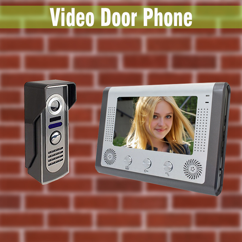 7 Wired Video Door Phone Doorbell Intercom System waterproof night vision Aluminium alloy Camera Video interphone intercom Kit lcd wired video security doorphone camera tft screen video interphone infrared night vision doorbell intercom