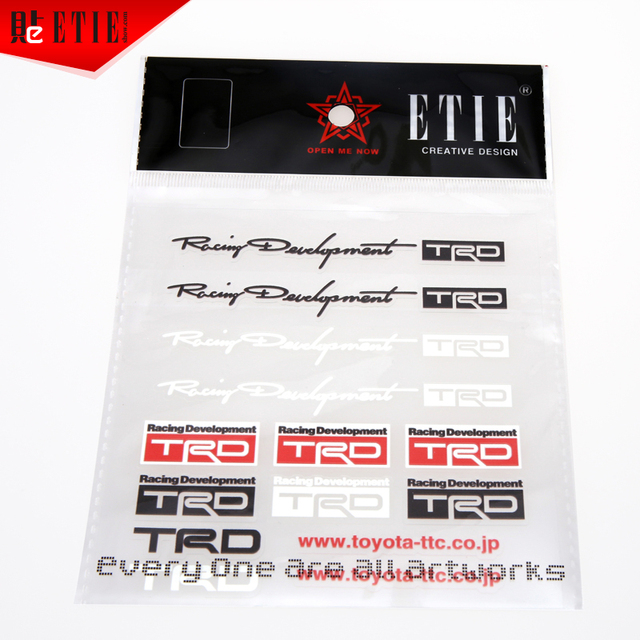 ETIE Hot Sale Car styling TRD Decal Sticker Printing PVC Auto Car