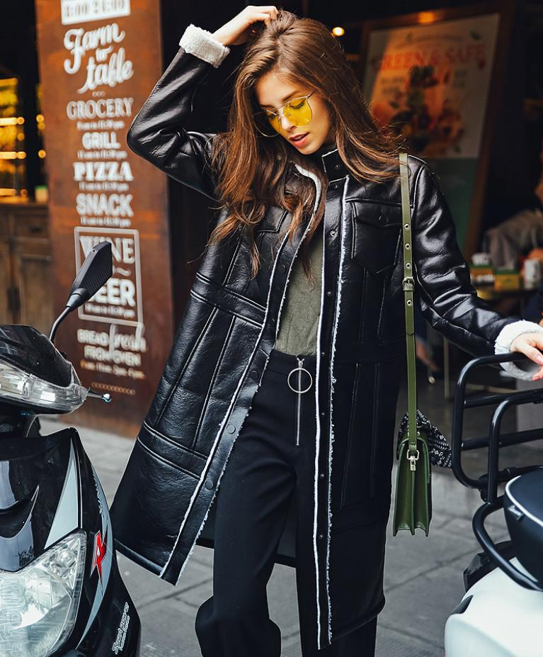 Winter fashion new women's PU   leather   jacket caot long sercive thicker warm outwear female single breasted casual overcoat L1182