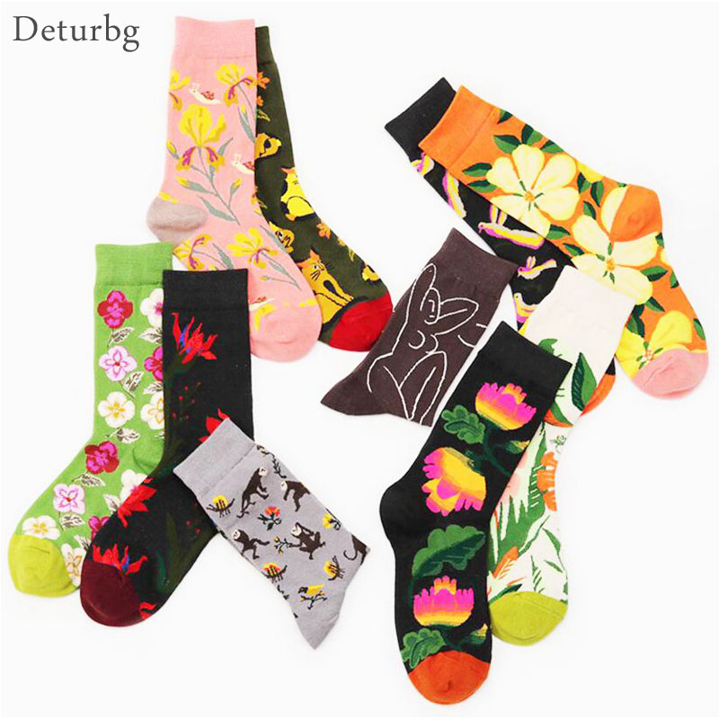 Deturbg Swag Cute Socks Cotton Happy Weed Socks Unisex Streetwear Casual Floral Animal Printing Funny Mid Tube Socks sokken NW06 in Socks from Underwear Sleepwears