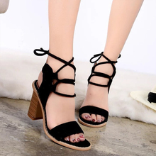 CHANGYUGE 2018 New Fashion Sexy Pumps Women High Heels Open Toe Lace Up Sandals Woman Thick With Shoes