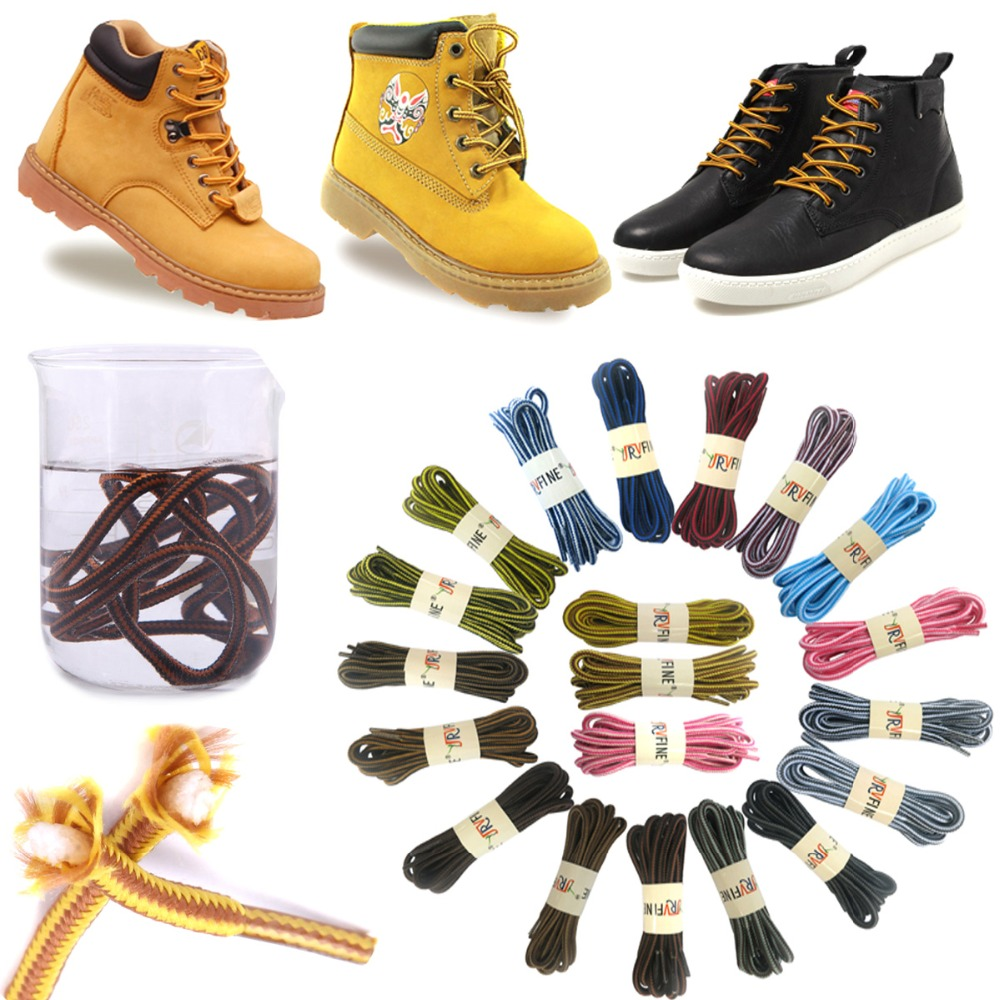 2 pairs outdoor round boot laces shoelaces for hiking work safety boots shoes