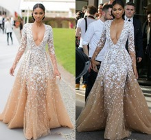 Evening Dresses Long Sleeves Champagne Tulle Formal Cleberity Pageant Deep V Neck Applique Prom Party Dress  vestidos de noiva