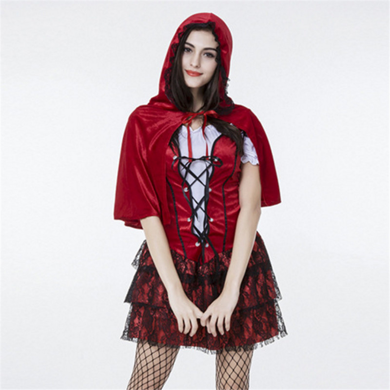 high quality Sexy Little Red Riding Hood Costume Halloween for Women Carnival club Party Female Fairy Tale Cosplay Fancy Dress