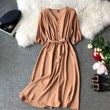 Fashion Spring New V Neck Summer Midi Long Dress Vestido De Festa Evening Party