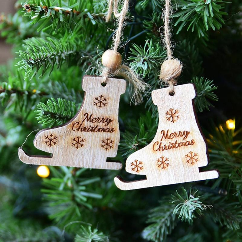 Wooden Sleigh Hanging Xmas Tree Ornament Christmas Sled Pendant Christmas Day Decoration Home Decor Unique Wooden Creative Diamond