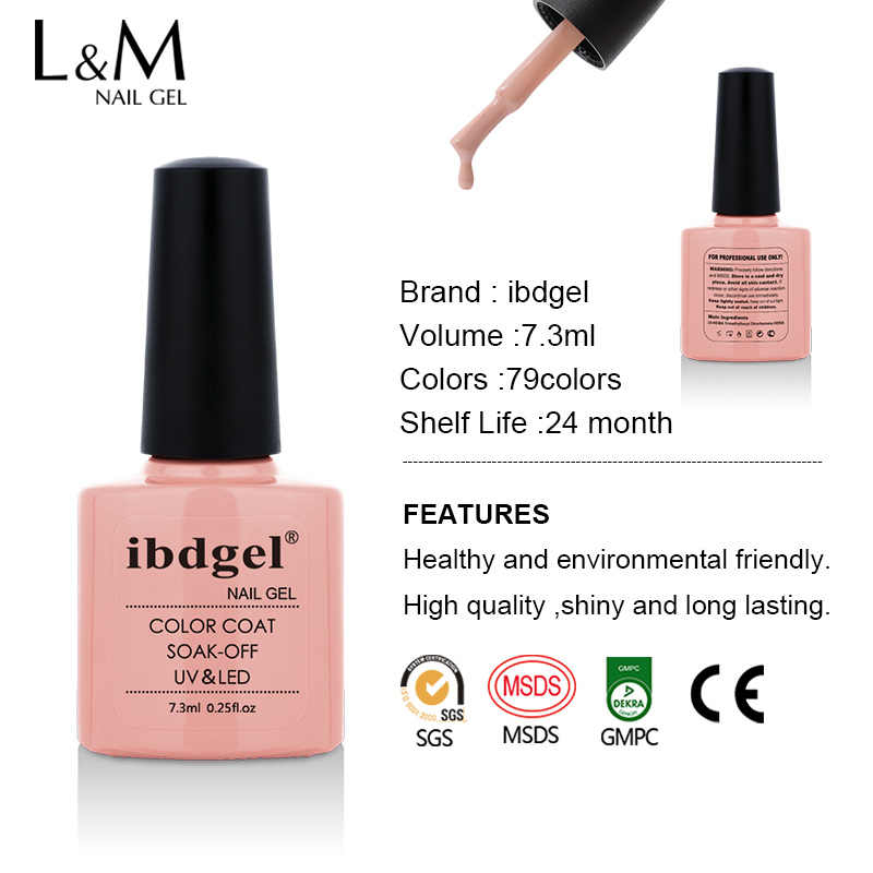 Ibdgel-Cat Kuku 7.3 Ml Rendam Off UV & LED 79 Warna Gel Seni Kuku Gel