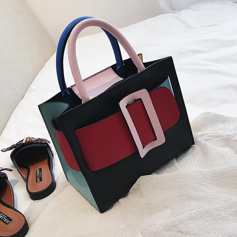 British Fashion Women s Designer Handbag 2018 New High quality PU Leather  Women bag Lattice Chain Tote 087bc33ff2