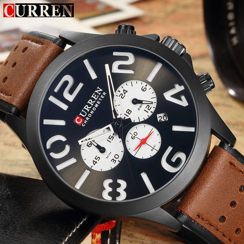 Relogio Masculino Curren Watches Men Brand Luxury Chronograph Quartz Watch Casual Sport Male Clock Leather Strap Mens Wristwatch hongc watch men quartz mens watches top brand luxury casual sports wristwatch leather strap male clock men relogio masculino