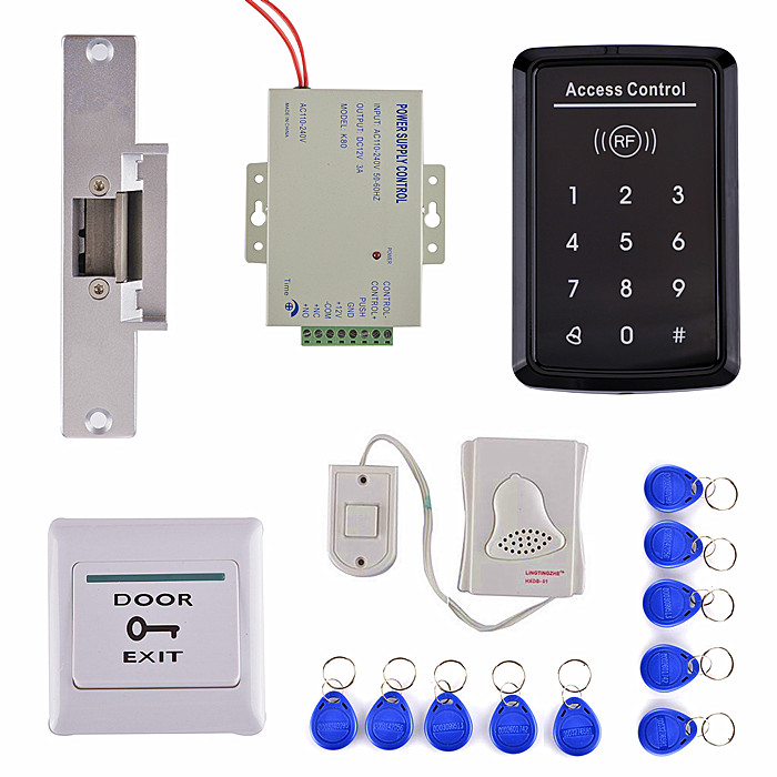 Door Switch Button +DoorBell + RFID EM Card Access Control Security System Kit For Home Use 10 rfid card 125khz em keypad card access control system kit power supply door swtich button