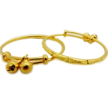 Childrens Bangle Yellow Gold Filled Kids Baby Bangle Expandable Bracelet With Bells 2pcs
