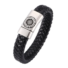 Fashion Men women Jewelry Leather Bracelets Flower pattern Stainless Steel Magnet Buckle Black & Bangles  BB0259