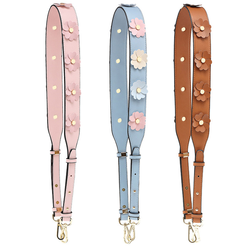Wide PU Flower Shoulder Bag Strap For Women Replacement Long Leather Handbag Belt Colorful Rivet Adjustable Crossbody Bag Strap