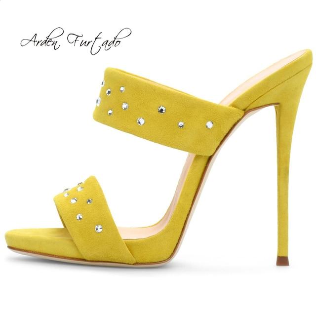 cb9002ac9a Arden Furtado summer 2019 fashion trend women's shoes stilettos heels  slippers big size 43 office lady rivet blue narrow band