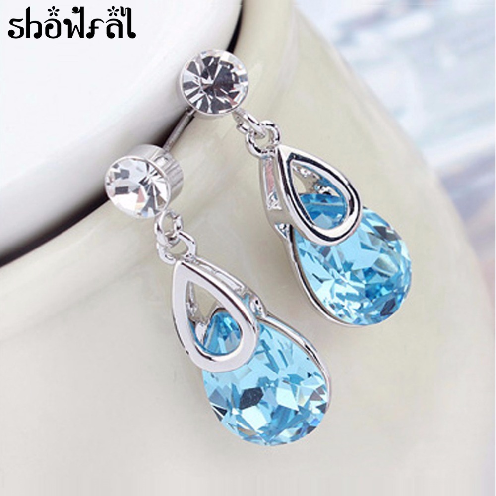 Crystal From Swarovski Jewelry Vintage Water Drop Blue Earrings For Women  Rhinestone Dangle Earrings With Stones Brincos 2017