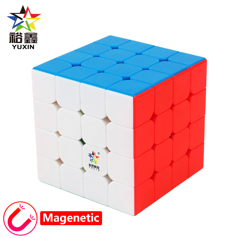 New YUXIN Little Magic 4x4x4 Magnetic Cube Professtional Stickerless Magnets Puzzle Speed Cubo Magico Educational Toys For Kid in Magic Cubes from Toys Hobbies