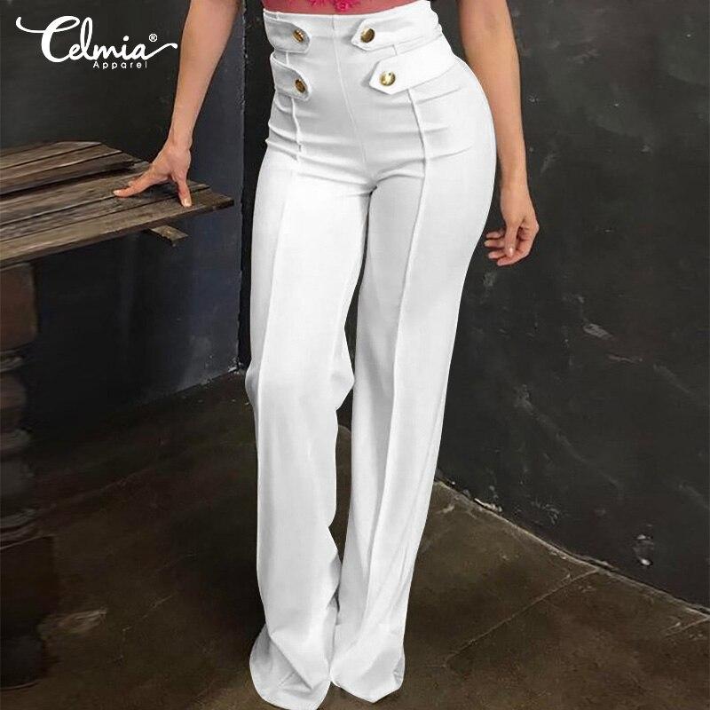 Elegant Women   Pant   Celmia 2019 Fashion Casual Solid High Waist Buttons   Wide     Leg     Pants   Office Lady Palazzo Long Trouser Plus Size