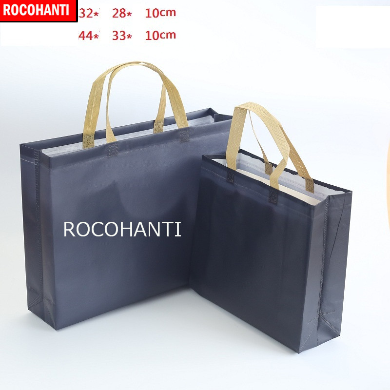 50x Custom Reusable Navy Non Woven Bag With Beige Color Handle Custom  Non-Woven Fabric Tote Shopping Bags a3e0ccdfc7c8a