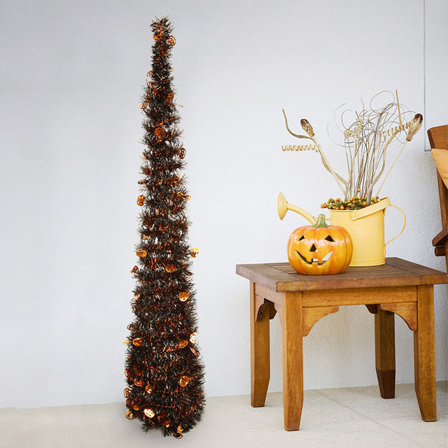 Us 15 66 Portable Halloween Christmas Tree Easy Assembly Collapsible Tower Shaped Christmas Tree Tinsel Coastal Christmas Tree Decoration In Trees