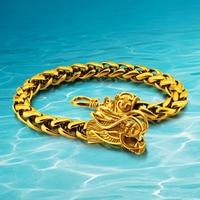 Man Plating 24 k gouden armband & link armband dragon armband stijl herstellen oude manieren heren sieraden 20 cm lange 7.5mm breedte