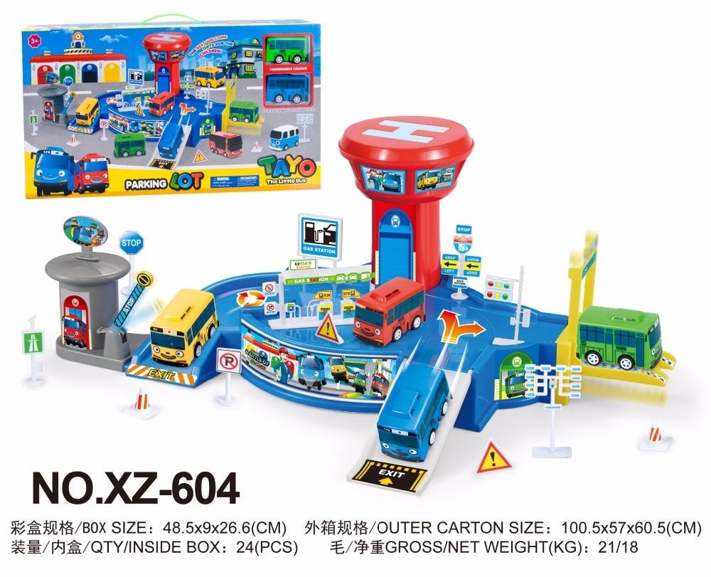 Coreano Cartoni Animati Tayo il piccolo bus set XZ-604 Assemblato Stazione Degli Autobus Parcheggio modello con 2 mini tayo bus oyuncak araba auto