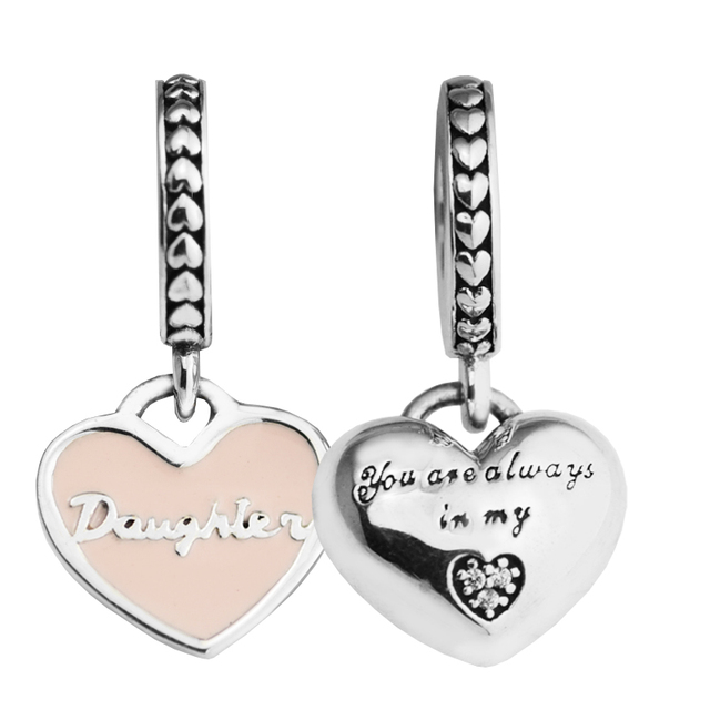 a7c5892df Fits for Pandora Bracelets Mother & Daughter Hearts Silver Beads with Soft  Pink Enamel 100%