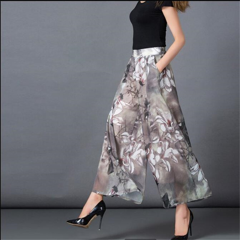 New Summer 2017 Women Printing Wide-legged Pants Skirt Loose Leisure Big yards Nine Points Chiffon Wide-legged Pants Panty G0967