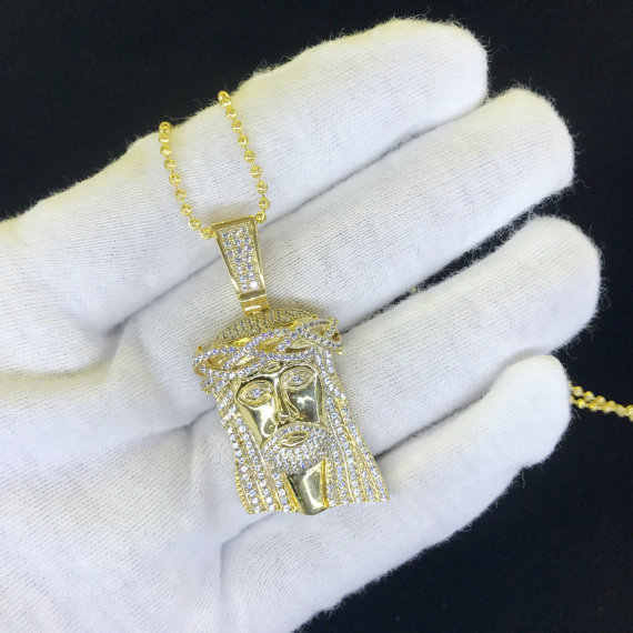 Gratis bead chain promotie 2017 hip hop bling geel goud Micro pave instelling bling clear zirconia Jezus ketting