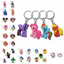 100PCS PVC Cartoon Marvel Avengers Troll Key Chain Anime Figure Super Hero Star Wars Mickey Ring Kid Toy Trinkets Holder